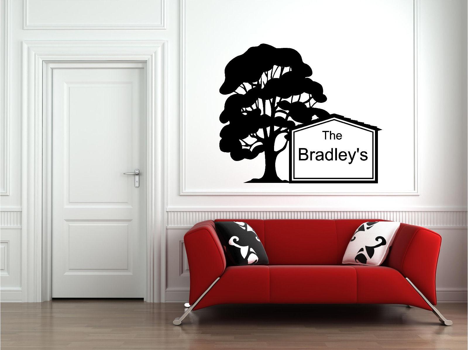 Personalized Family Name Tree Wall Sticker Wall Art Decor Vinyl