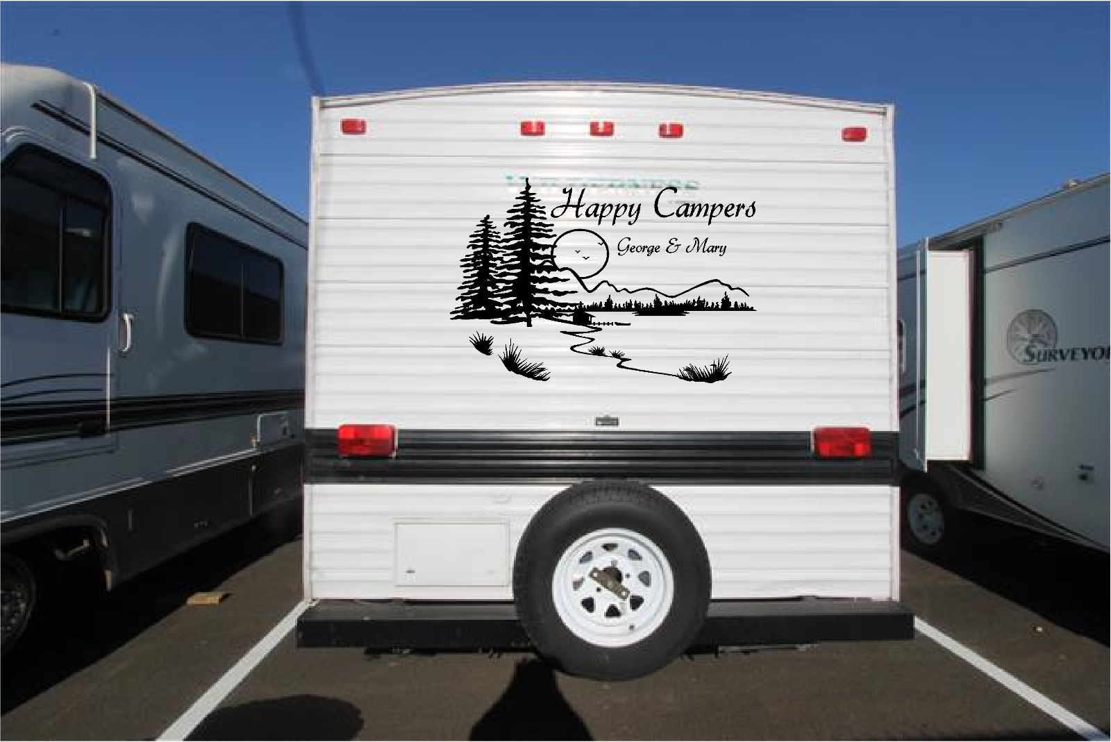 Personalized Lake Landscape Camper RV Vinyl Decal Sticker Graphics