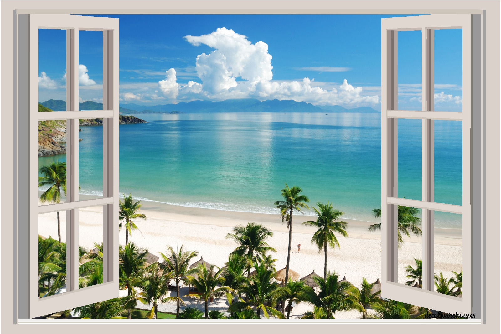 Beach ocean palm trees window view repositionable color wall sticker mural 3 ft for Beach view wall mural