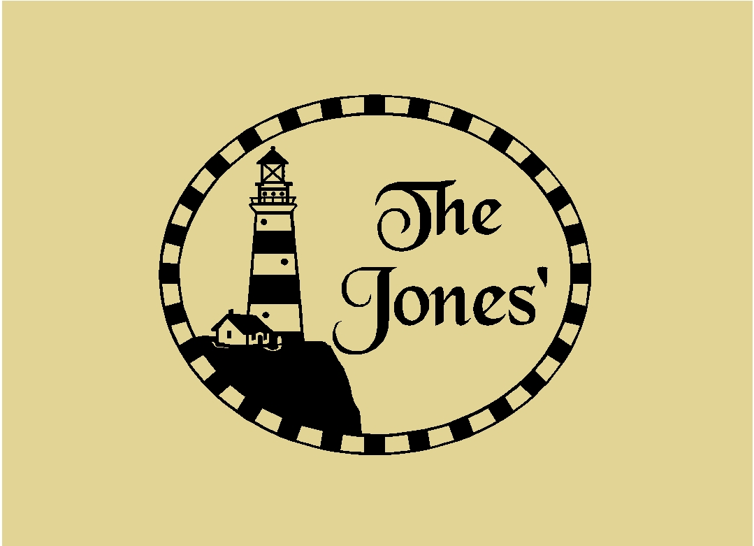 Lighthouse and Personalized Family Name Sign Wall Sticker Wall Art ...