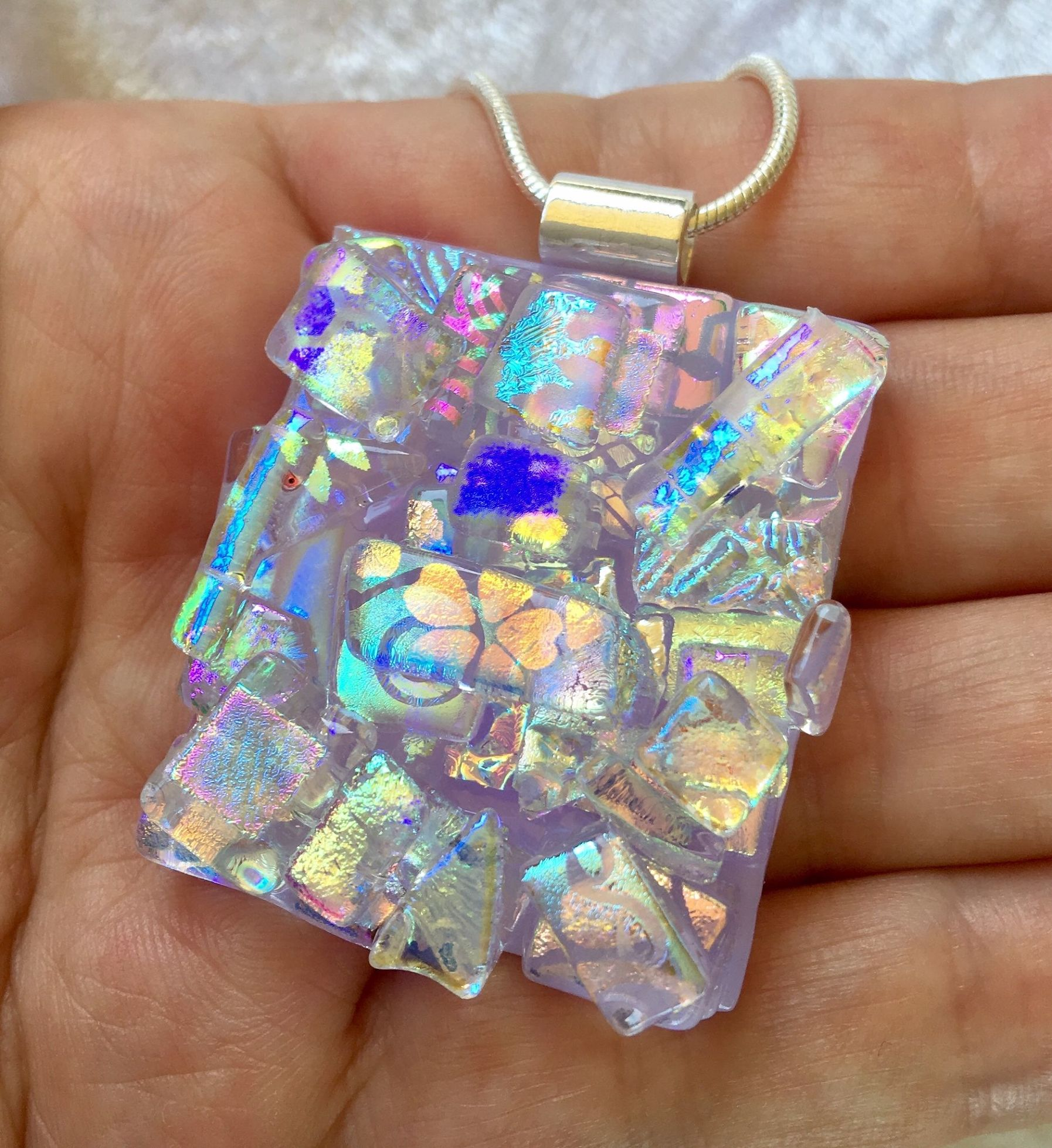 Dichroic glass pendant includes necklace picasso style aloadofball Gallery