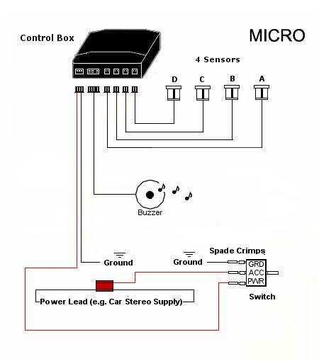 micro front audio 4 parking sensor system reversing kit by dolphin automotive