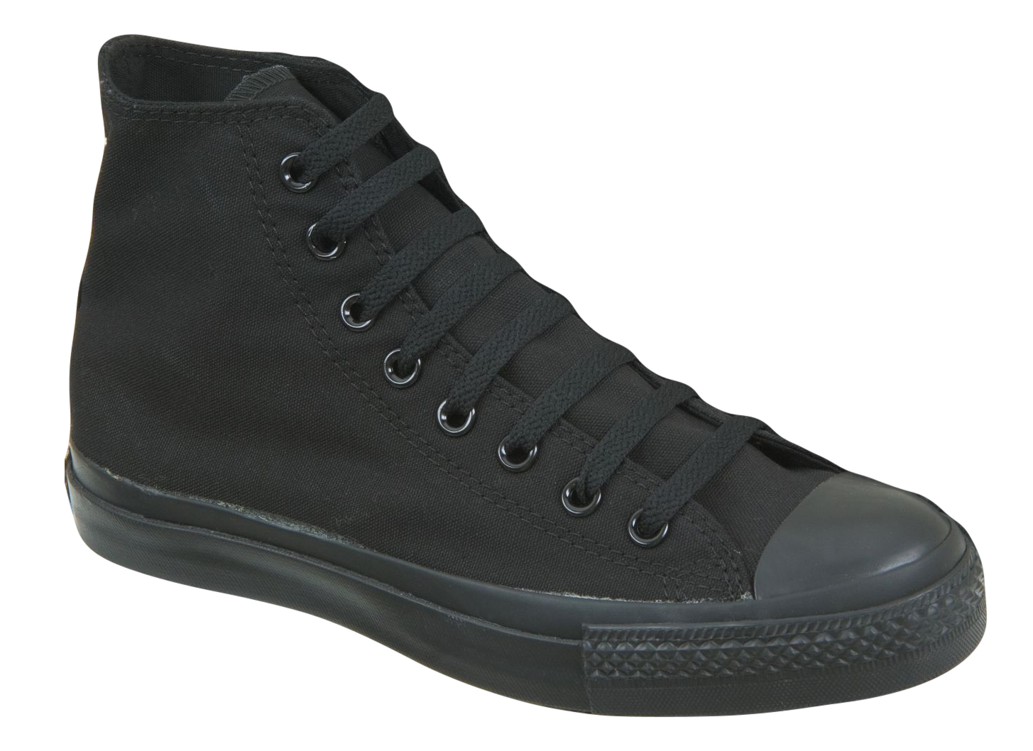 Canvas Lace Up Shoes Trainers Ankle Boots All Black
