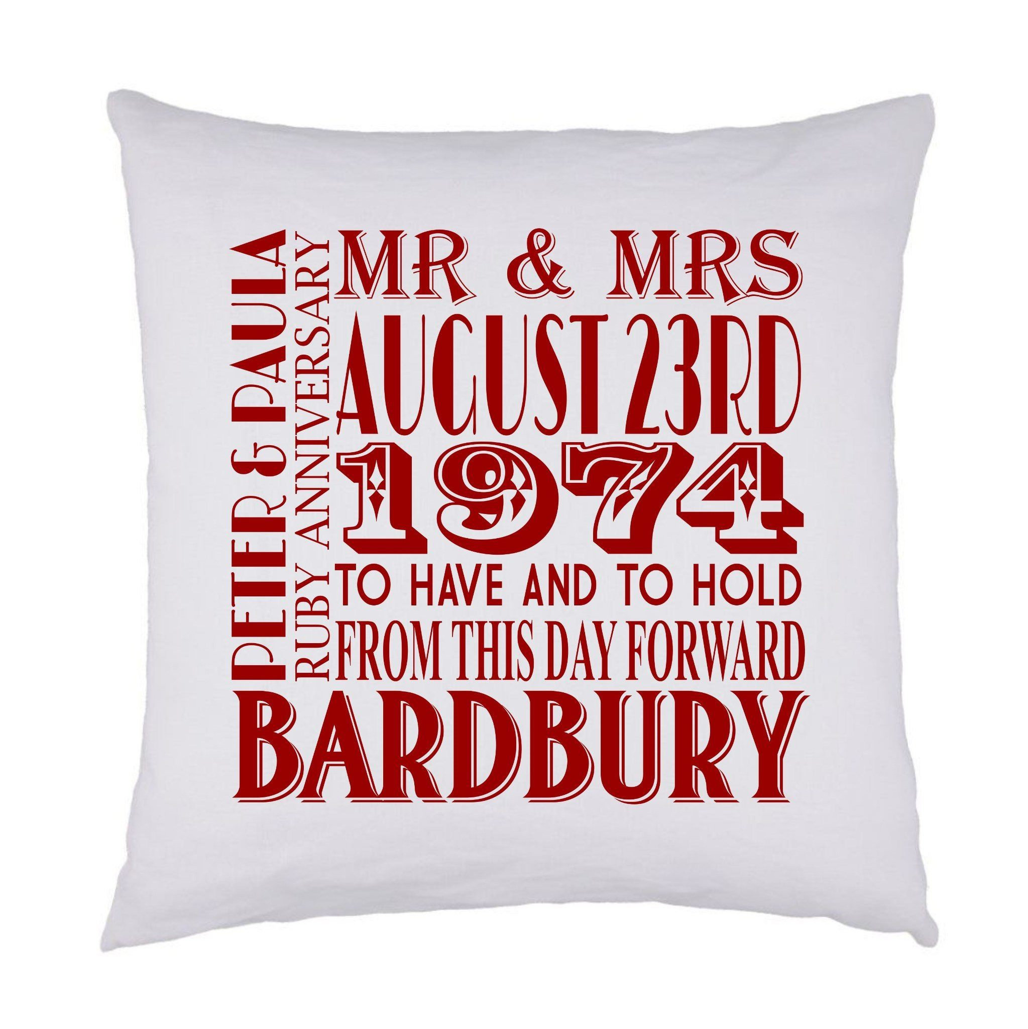 WEDDING ANNIVERSARY - PERSONALISED CUSHION COVER