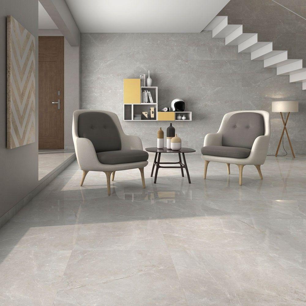 Marble effect floor tiles
