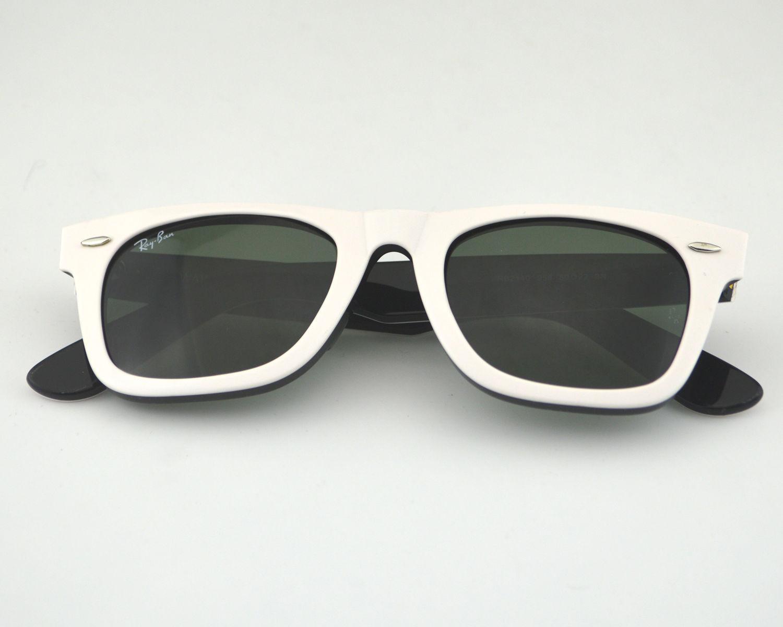 ef6db3304a1 Ray Ban RB 2140 Original Wayfarer Rare Prints 956 White Black Glass Green  Classic G-15 Lens Unisex Sunglasses 50mm