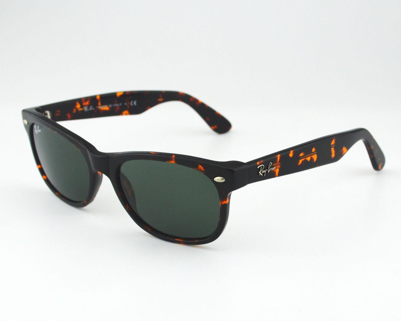1e5f92045af Ray Ban RB 2132 New Wayfarer Classic 902 Tortoise  Green Classic G-15 Glass  Lens Unisex Sunglasses 55mm