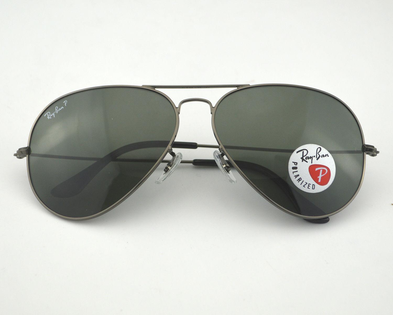a790849882b Ray Ban RB3026 Aviator Large Metal Ⅱ 004 58 Gunmetal  Polarized Green  Classic G-15 Lens Sunglasses 62mm