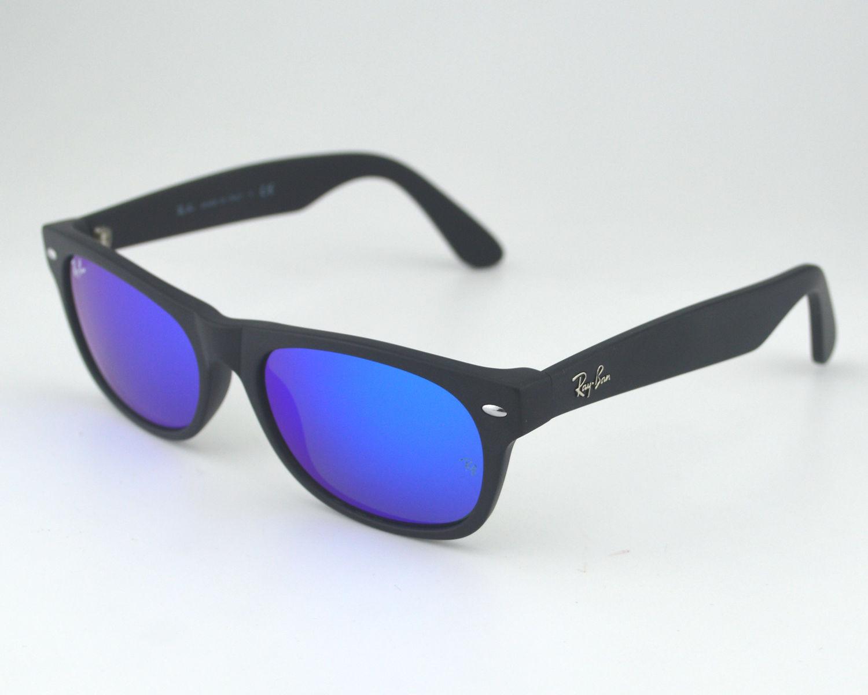 ray ban rb2132 new wayfarer flash 622 17 black blue flash lens sunglasses 52mm. Black Bedroom Furniture Sets. Home Design Ideas