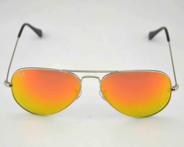 80619fe7d8e Ray Ban RB 3025 Aviator Mirror 003 69 Silver Frame Orange Mirror Glass Lens  Unisex Sunglasses 55mm