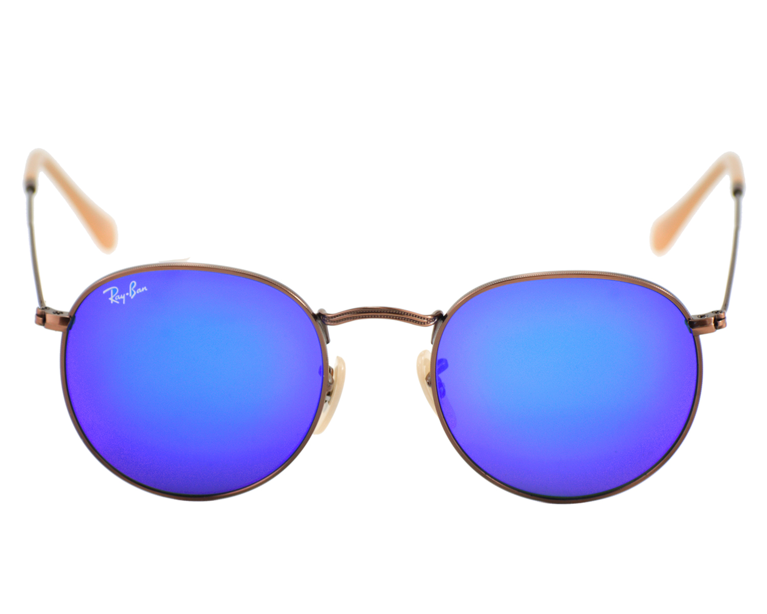 Ray-Ban RB3347 Round Flash Lenses 167/68 Bronze-Copper Frames/Blue ...