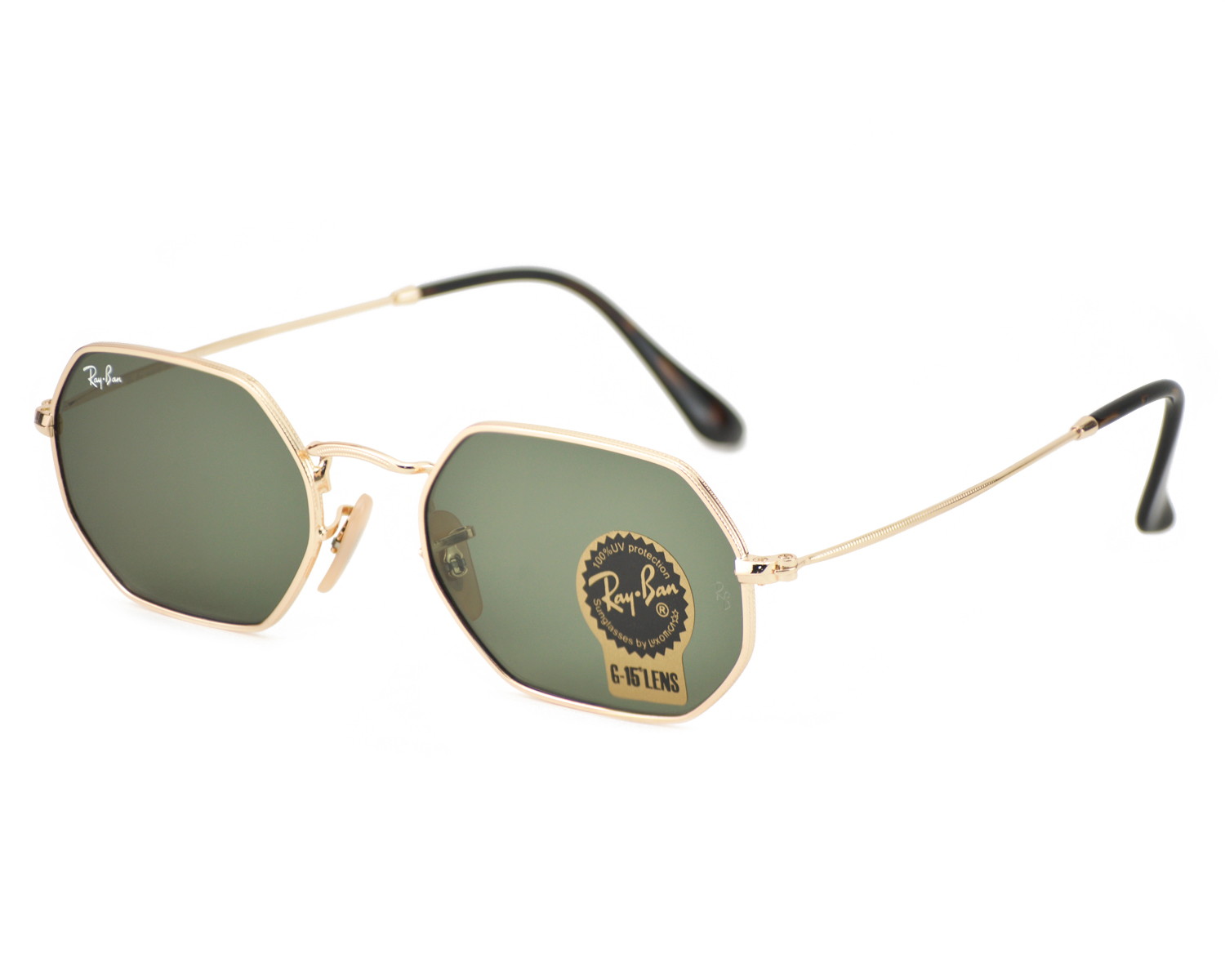 Ray-Ban RB3556N Octagonal Flat Lenses 001 Gold Frame/Green Classic G ...