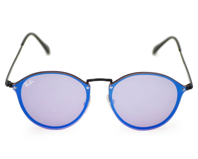 Ray-Ban RB3574N Blaze Round 153/7V Black Frame/ Violet/Blue Mirror ...