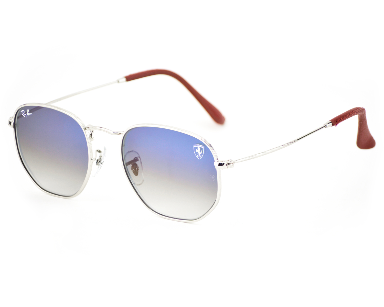 8d5a63bdb0 Ray-Ban RB3548NF Hexagonal Flat Lenses F007 3F Silver Frame Light Blue  Gradient Lenses Unisex Sunglasses 51mm