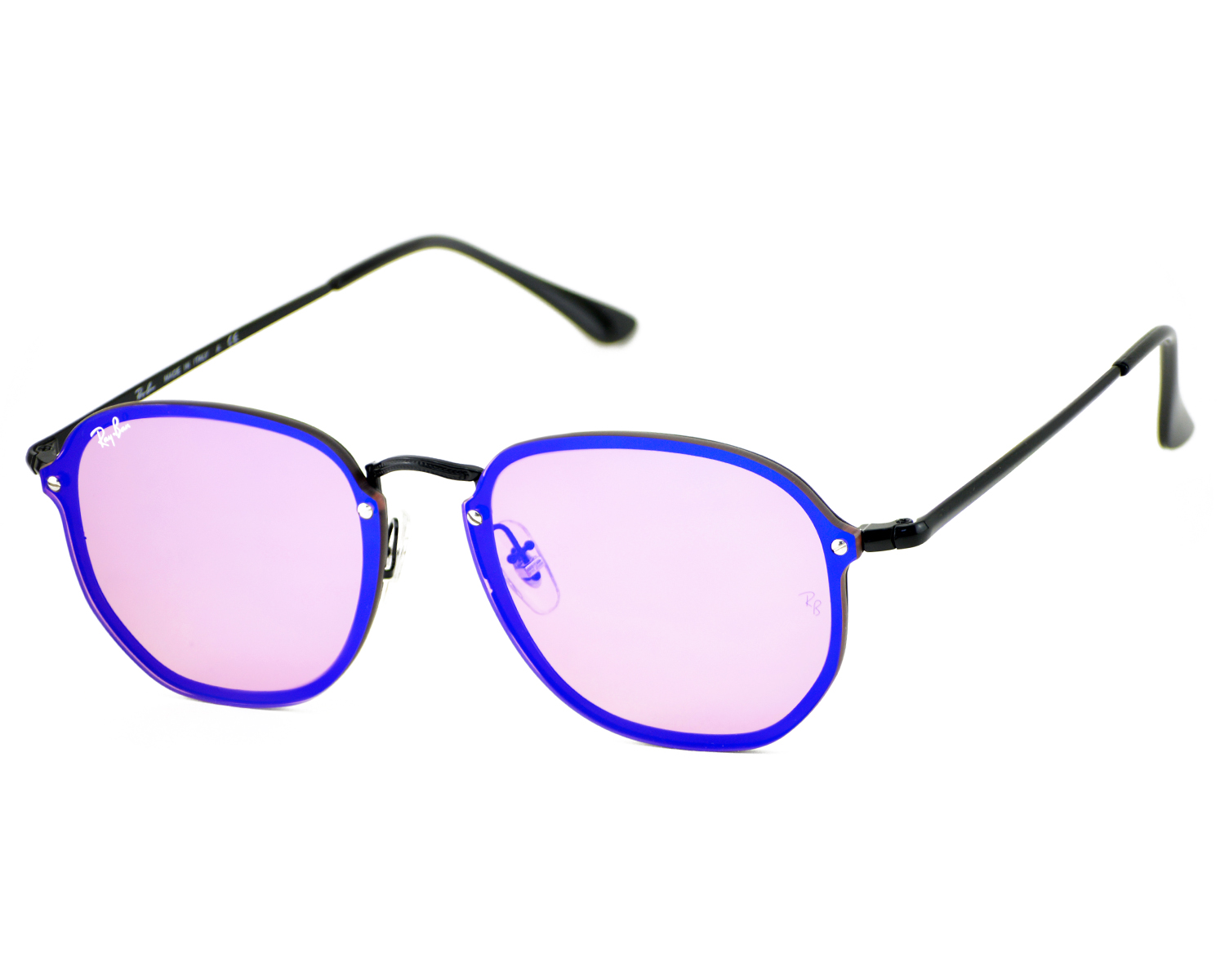 dc23ada23d Ray-Ban RB3579N Blaze Hexagonal 153 7V Black Frame Violet Blue Mirror  Lenses Unisex Sunglasses 58mm