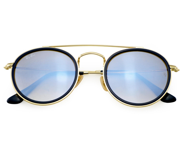 de83a4a03a Ray-Ban RB3647N RB3647N Round Double Bridge 001 9U Gold Frame Silver  Gradient Flash Lenses Unisex Sunglasses 51mm