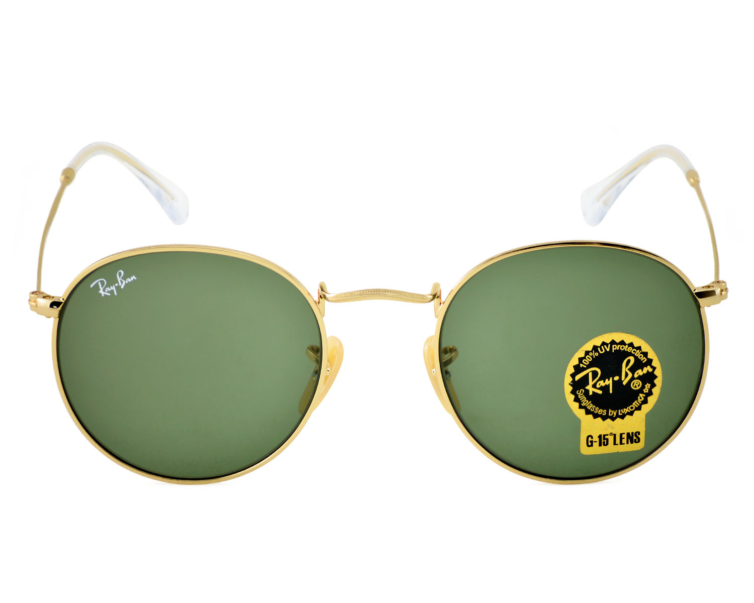 Ray-Ban RB3447 Round Metal 001 Gold Frame/ Green Classic G-15 Lens ...