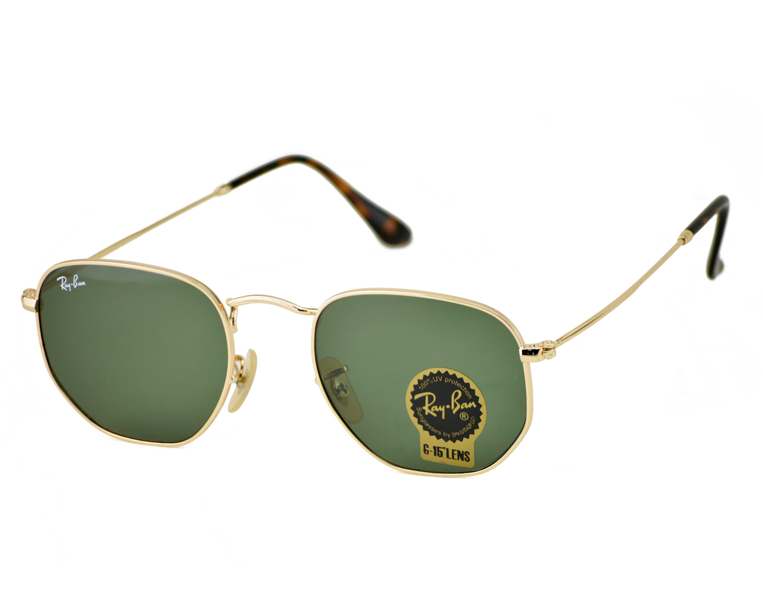 b5aa62ac0d4 Ray-Ban RB3548N Hexagonal Flat Lenses 001 Gold Frame Green Classic G-15  Lenses Unisex Sunglasses 51mm