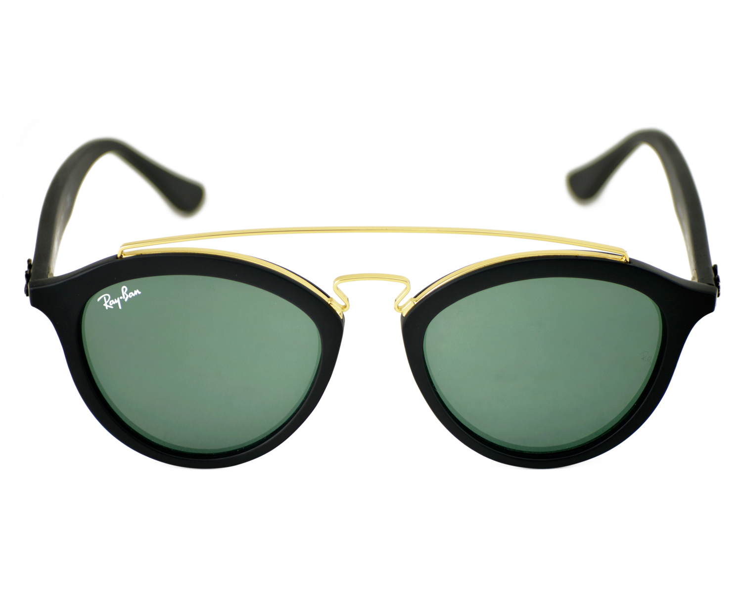 3335013524 Ray-Ban RB4257-F GATSBY II 601 71 Black Gold Black Frame Green Classic  Lenses Unisex Sunglasses 51mmX