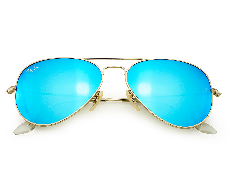 4b81880fedf3 Ray-Ban RB3025 Aviator Flash Lenses 112 17 Gold Frame  Blue Flash Glass  Lenses Unisex Sunglasses 55mm