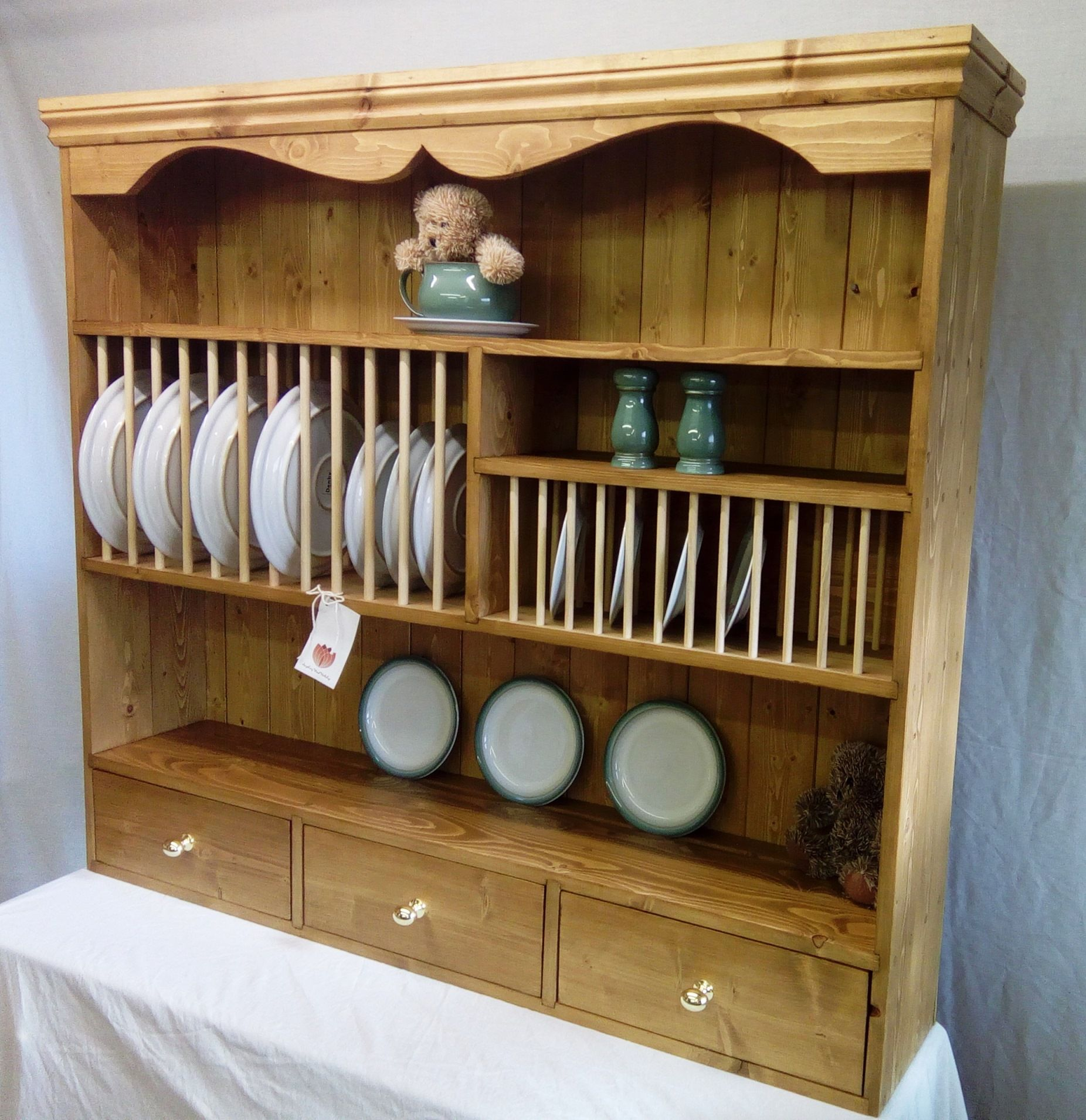Plate Rack - Hand Crafted in Reclaimed Pine - Large 3 Drawers 12 Place & Hand Crafted Solid Pine Plate Rack with 3 Drawers 4 ft made for 3 ...