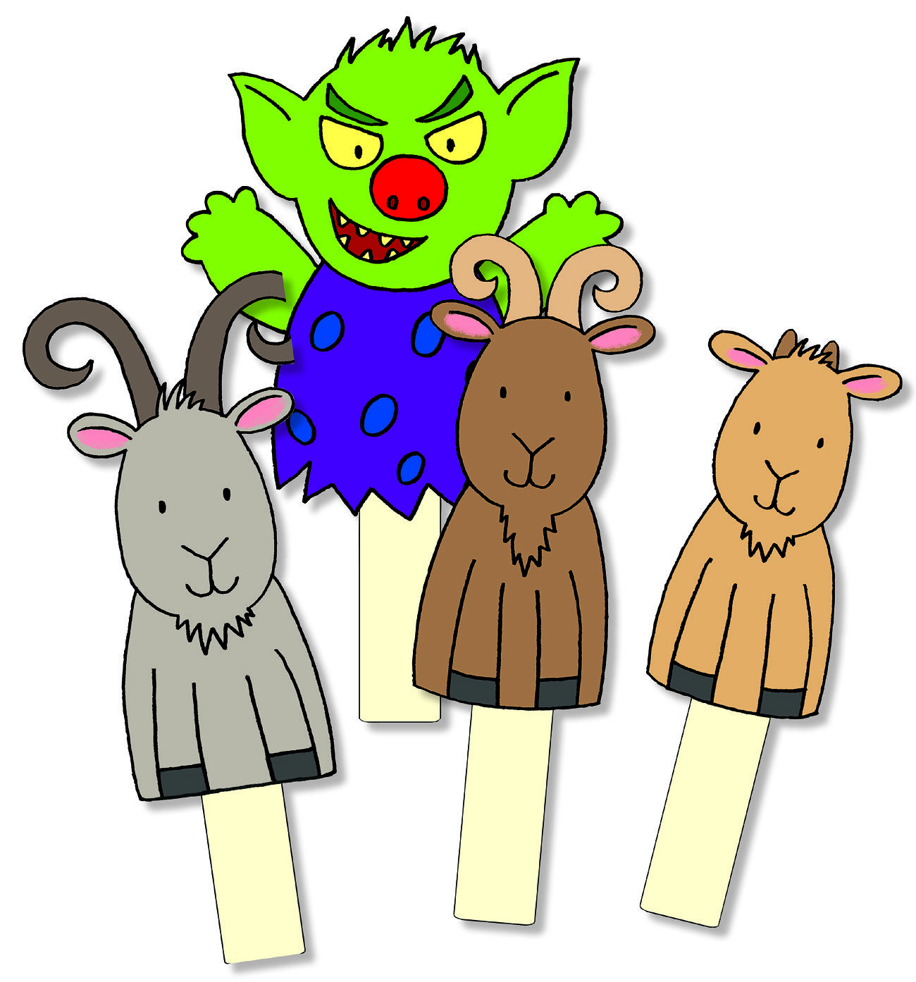 picture about Three Billy Goats Gruff Story Printable referred to as Billy Goats Gruff Storysticks
