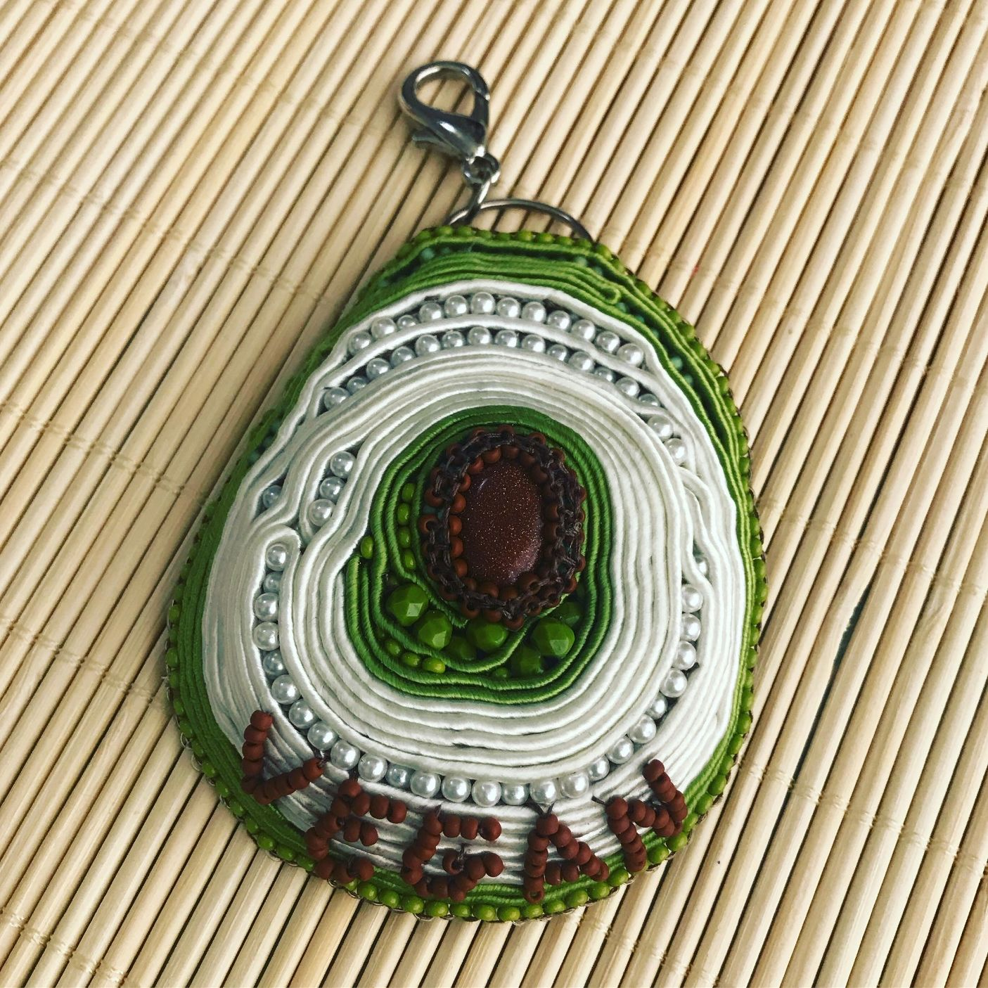 Large Handmade Avocado Soutache Key Chain Bag Charm Car Vegan Birthday Gift Ideas