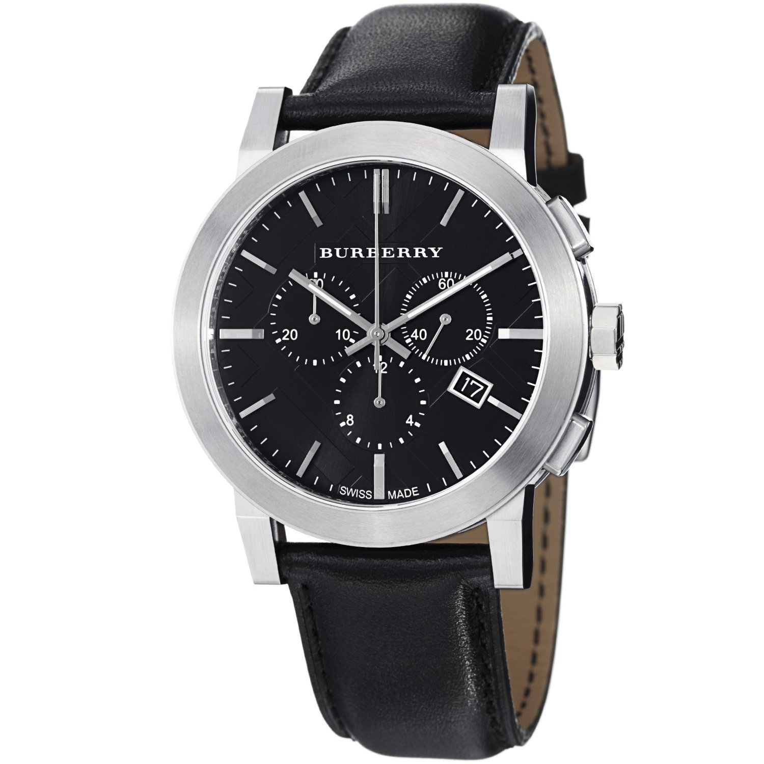 Burberry bu9356 stainless steel leather anti reflective men 39 s watch for Burberry watches