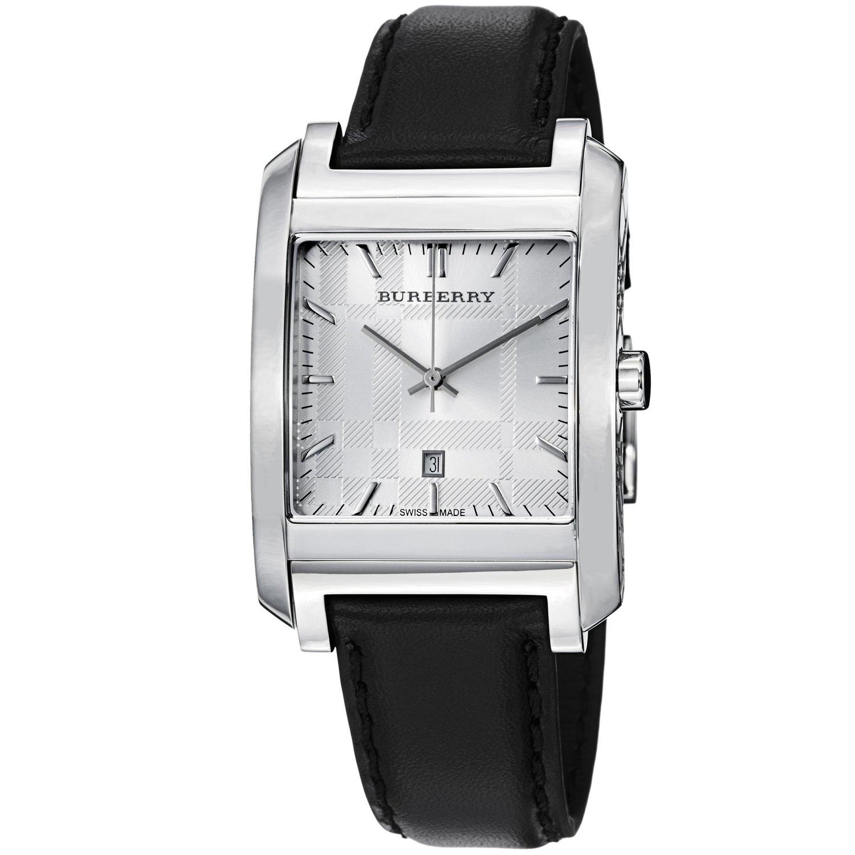 Burberry bu1570 nova check black leather strap men 39 s watch for Black leather strap men