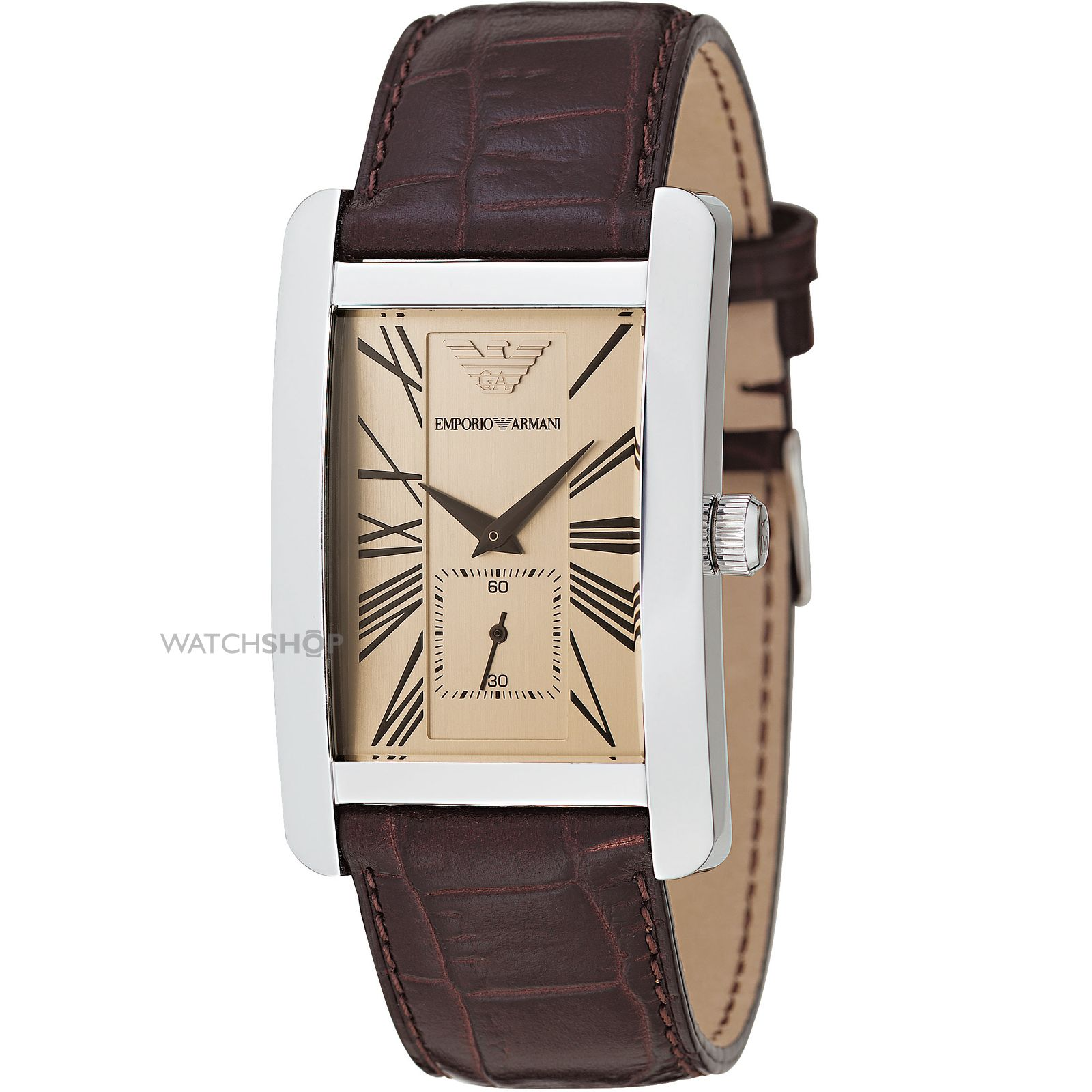 Armani ar0154 mens classic leather strap watch for Leather watch for men