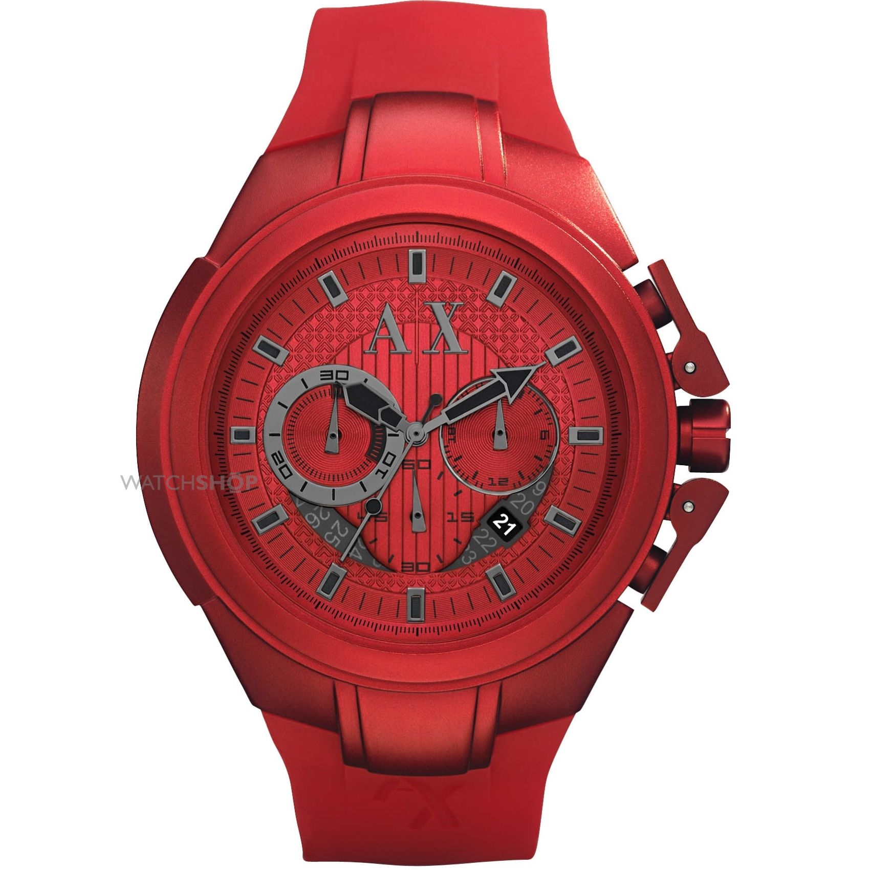 Armani Exchange Chronograph Red Dial Red Aluminium Mens Watch