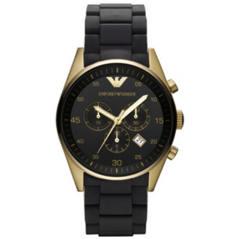 Emporio Armani Ar8023 Mens Sportivo Gold Amp Black Watch