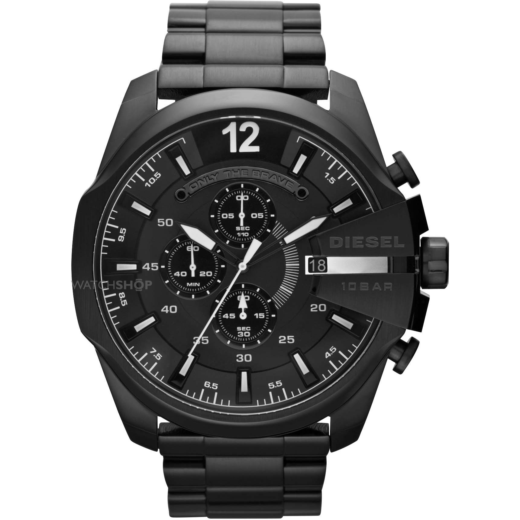 plated dial mega mens diesel v black chronograph chief watch ion watches