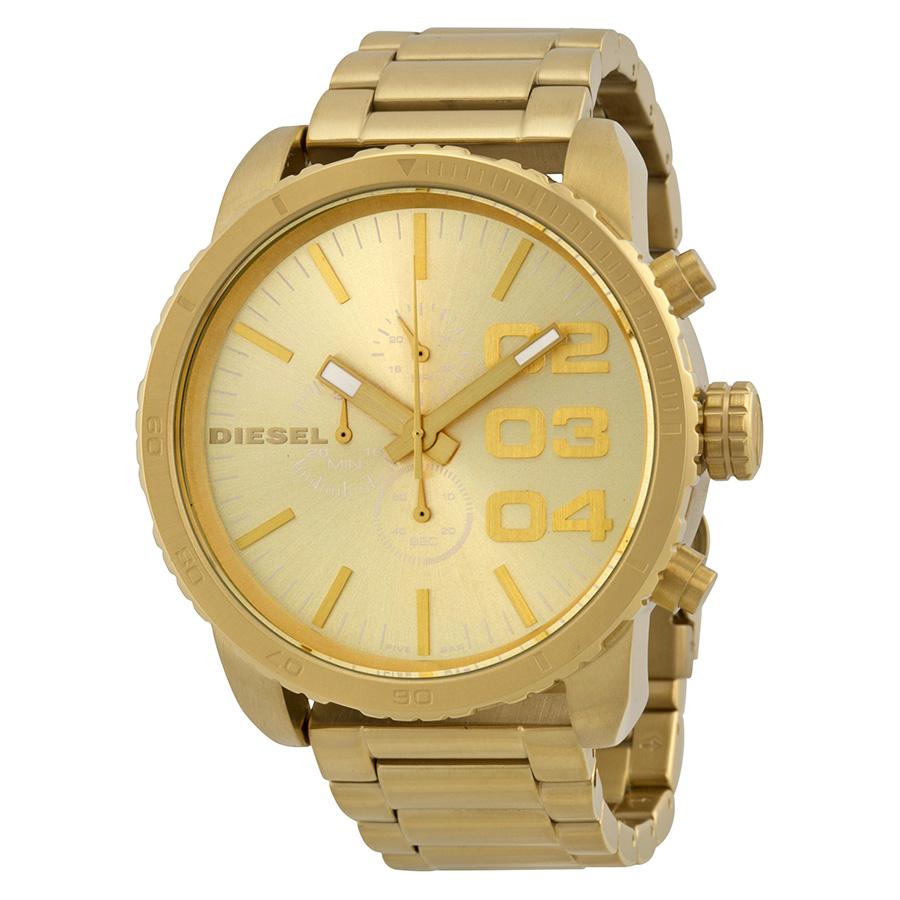 diesel chronograph gold tone steel mens