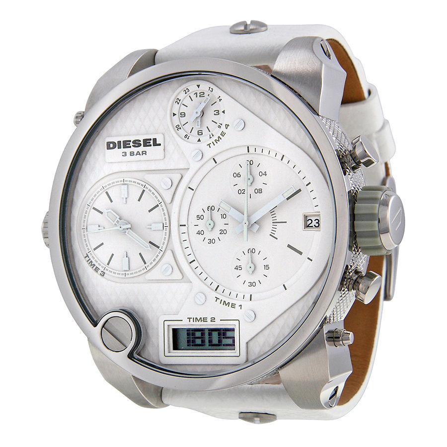 Diesel Time Zone Chronograph White Leather Strap Mens Watch