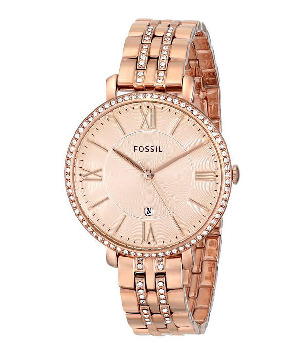 Fossil es3546 jacqueline analog pink dial women 39 s watch for Watches for women