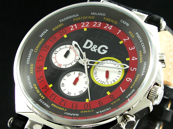 d g unique black leather mens fashion watch 3719770194