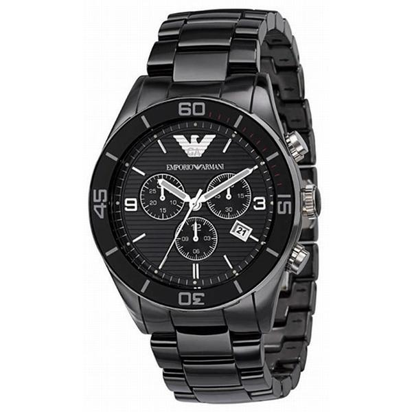 Armani ar1421 black ceramica chronograph mens watch for Ceramica chronograph