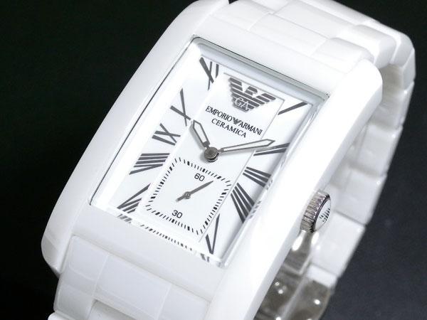 emporio armani ar1408 ladies white ceramic rectangle white dial watch
