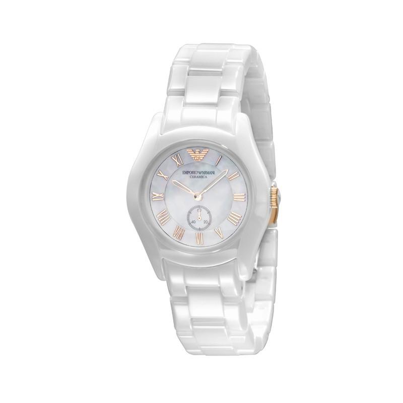 27faca974b6e Emporio Armani Watches AR1418 Ladies Ceramica White Rose Gold Watch