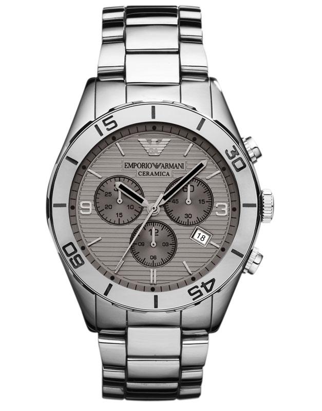 Emporio armani ar1462 gents latest ceramica silver chrono watch for Ceramica chronograph