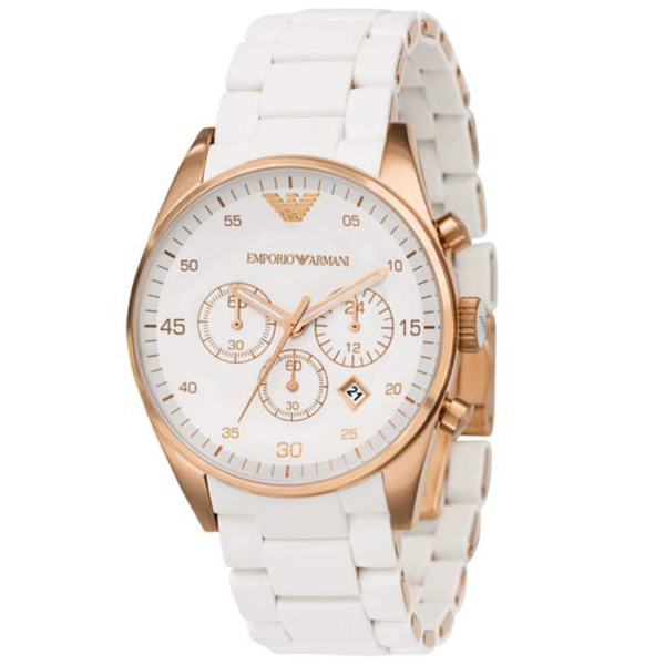 white watch emporio mens sportivo armani chronograph watches