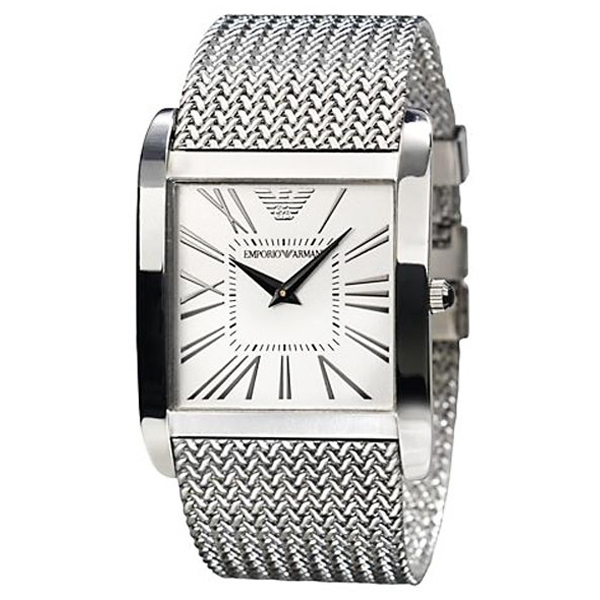 Emporio Armani Ar2014 Mens Silver Dial Mesh Bracelet
