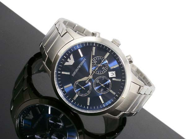 ar2448 emporio armani watches classic blue silver mens watch ar2448 was £394 80