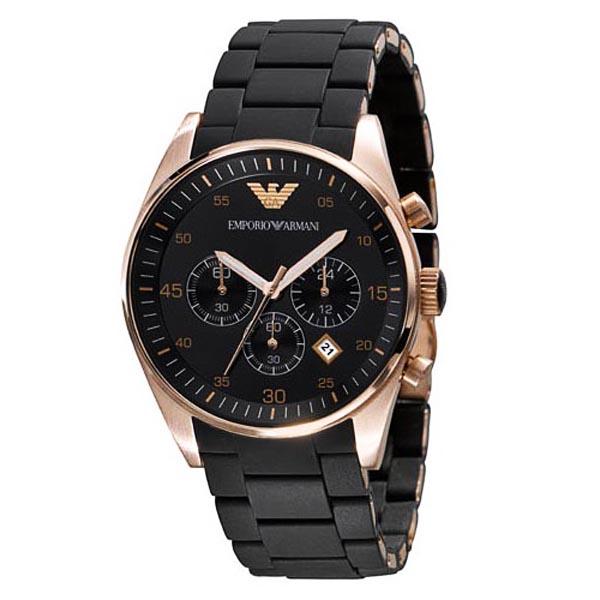 emporio armani mens chronograph watch ar5905 designerposhwatches armani ar5905 mens chronograph rose gold black watch