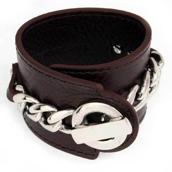d g leather bracelet dj0446 mens silver brown dolce gabban