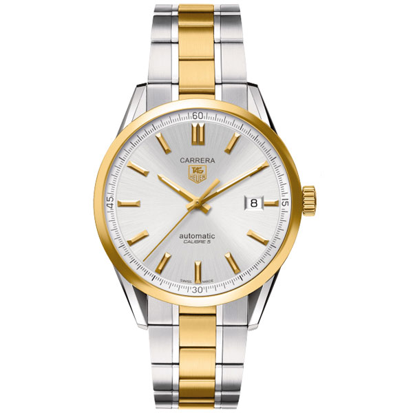 Tag Heuer Carrera Silver Dial 18kt Yellow Gold and ...