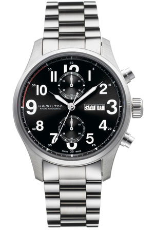 Hamilton H71716133 Mens Khaki Field Officer Chrono Watch