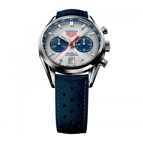 Tag Heuer Carrera Silver Dial Chronograph Blue Leather