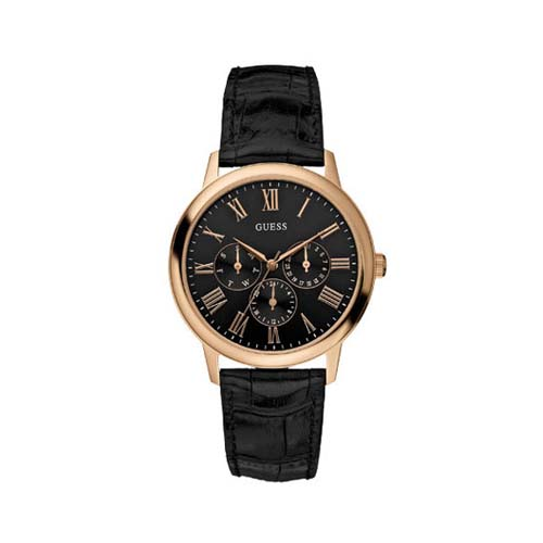 Guess Men's 'WAFER' Rose Gold Tone Black Dial Watch - W85069G1 - photo #8